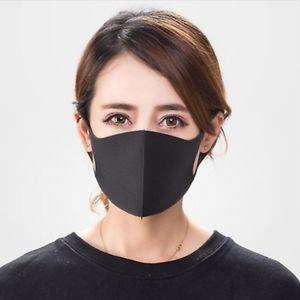Two non-medical, black, face masks